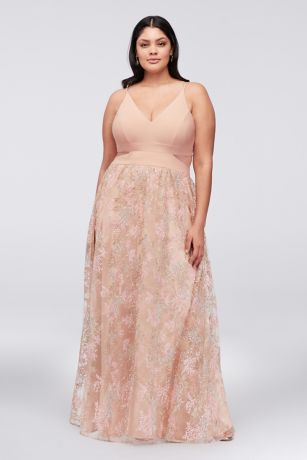 Jersey Plus Size Gown with Embroidered Mesh Skirt | David\'s Bridal