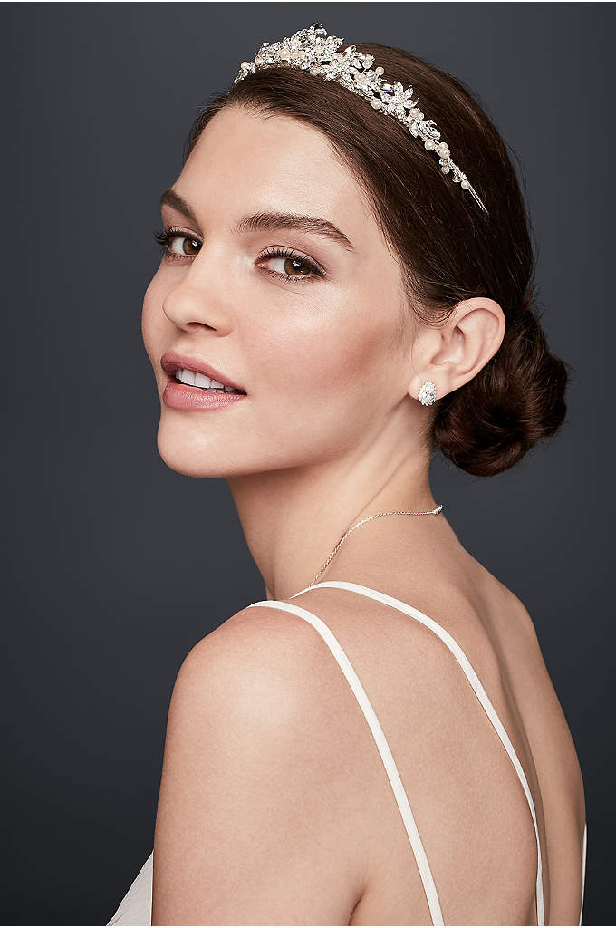 Crystal and Pearl Floral Tiara - The perfect combination of regal and romantic, this
