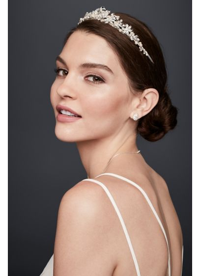 David's Bridal Grey (Crystal and Pearl Floral Tiara)