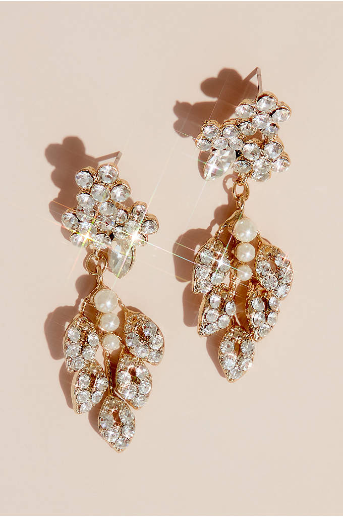 Crystal and Pearl Leaf Motif Earrings