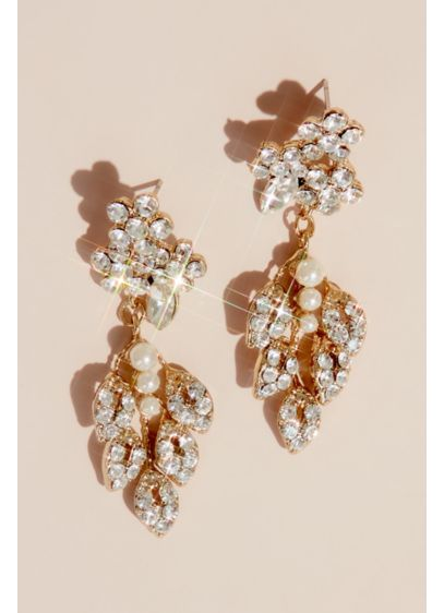 Crystal and Pearl Leaf Motif Earrings - Featuring a delicate leafy design set with dozens