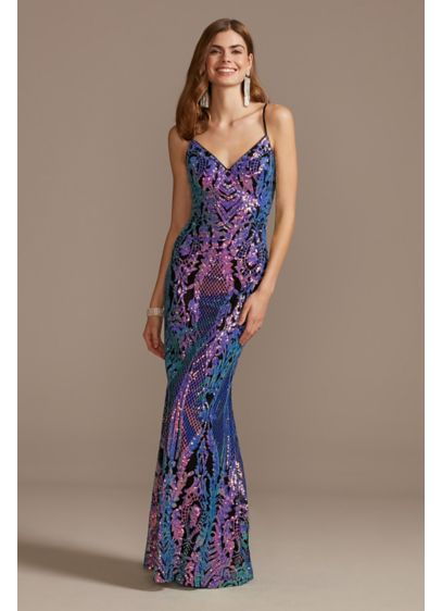 Crosshatch Flip Sequin Damask V-Neck Gown - This slinky spaghetti strap gown gets a modern