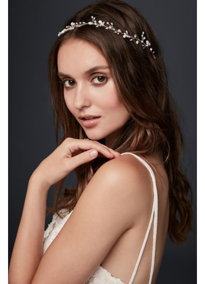 David's Bridal Grey (Freshwater Pearl and Crystal Sprig Ribbon Headband)