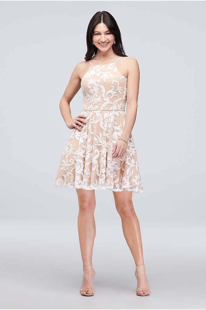 Embroidered Sequin Short Fit-and-Flare Dress - Flirty, fun, and festive as can be, this