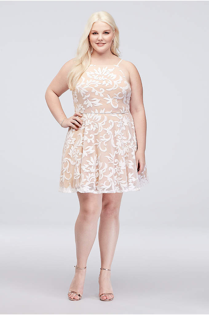 Embroidered Sequin Plus Size Fit-and-Flare Dress - Flirty, fun, and festive as can be, this
