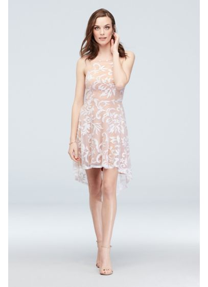 High-Neck Sequin Brocade Overlay High-Low Dress - Thick layers of sequins, sitting atop a nude