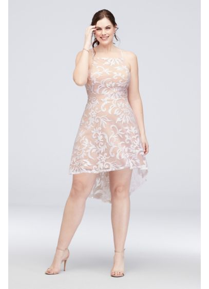 High-Neck Sequin BrocadeHigh-Low Plus Size Dress - Thick layers of sequins, sitting atop a nude