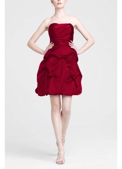 Short Red Structured David's Bridal Bridesmaid Dress