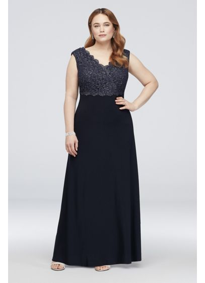 Long A-Line Cap Sleeves Cocktail and Party Dress - Alex Evenings