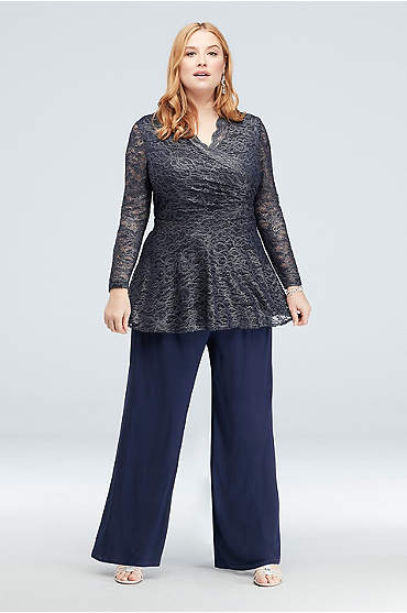 Gathered Floral Metallic Lace Plus Size Pantsuit