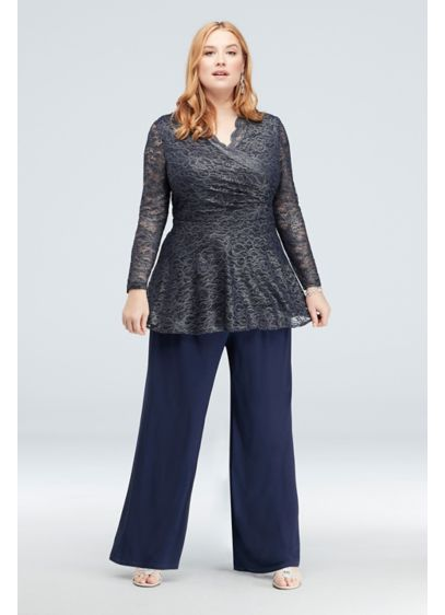 Gathered Floral Metallic Lace Plus Size Pantsuit - The scalloped metallic lace top of this wide-leg