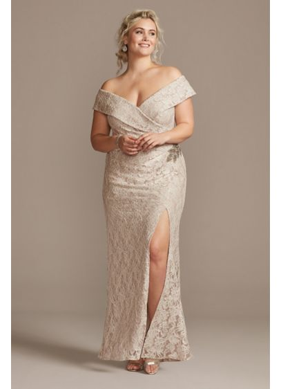 Off the Shoulder Embellished Detail Plus Size Gown - For an elegant special occasion look, try this