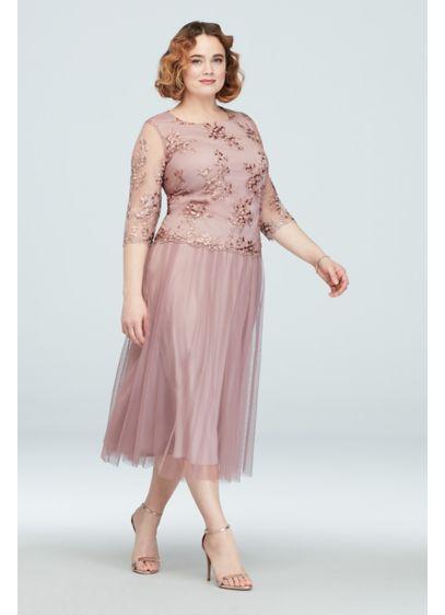 3/4 Sleeve Embroidered Tea-Length Plus Size Dress | David\'s ...