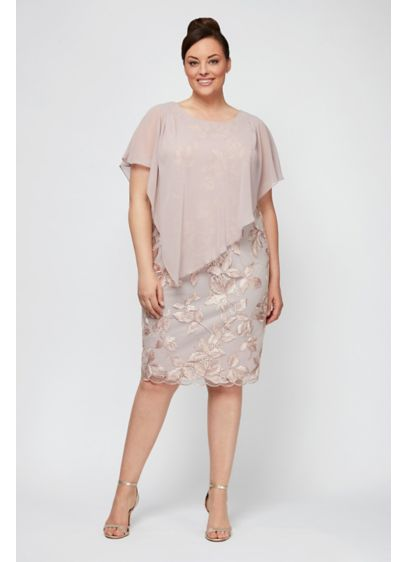 Chiffon Overlay Short Plus Size Shift Dress - Be prepared to wow in this plus-size short