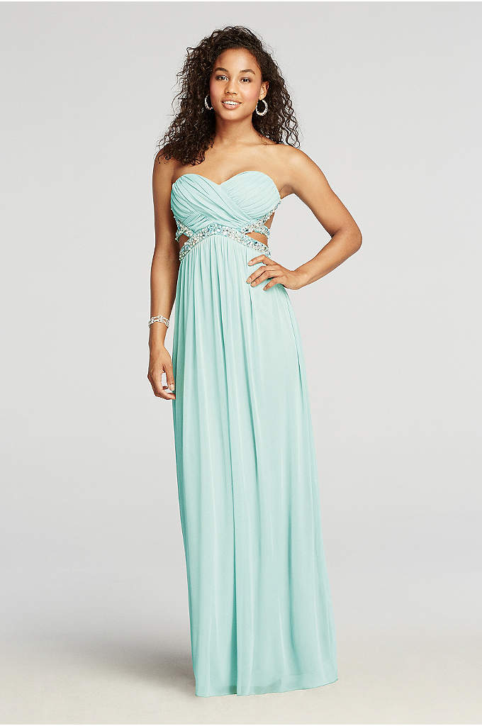 Strapless Crystal Beaded Cut Out Prom Dress