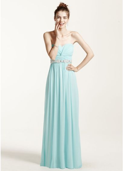 Strapless and Ruched Dress with Beading Detail | David\'s Bridal