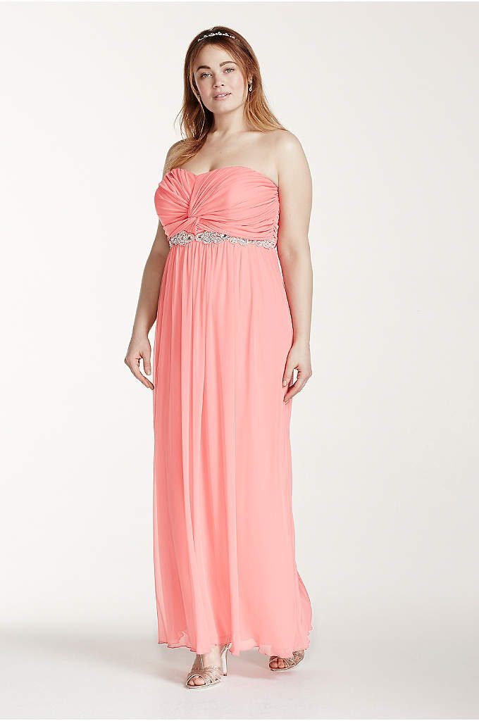 Strapless Ruched Bust Prom Dress with Beading