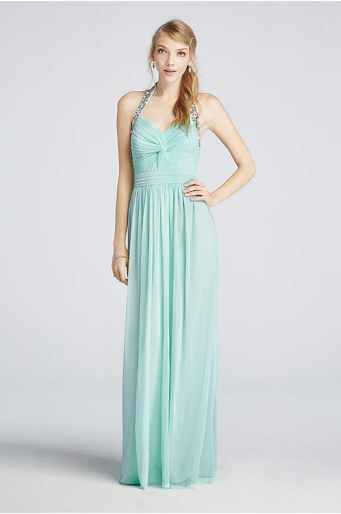 Beaded Halter Mesh Prom Dress with Ruched Detail