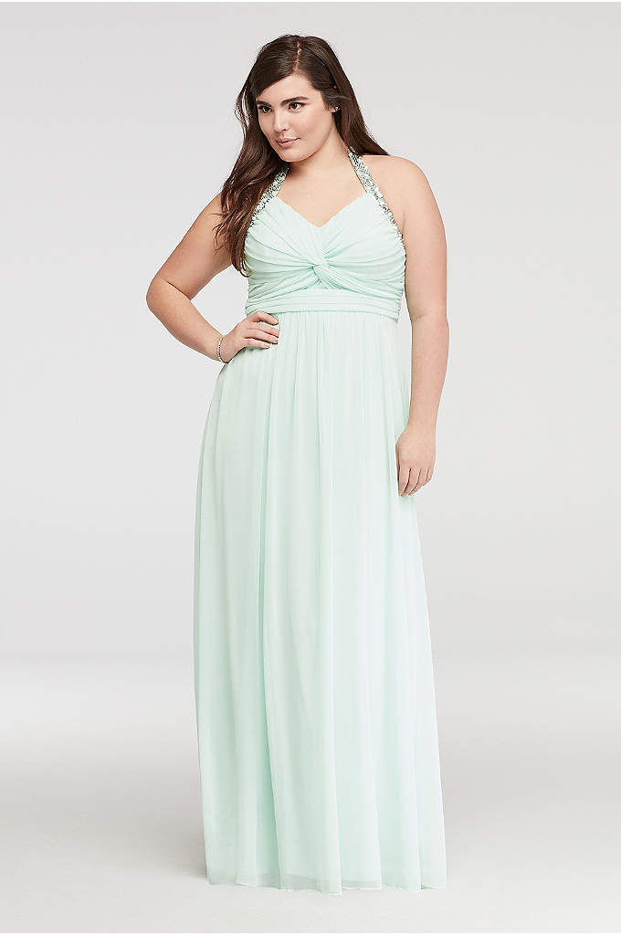 Beaded Halter Prom Dress with Ruched Bodice