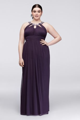 Ruched Jersey Plus Size Dress with Beaded Neckline | David\'s Bridal