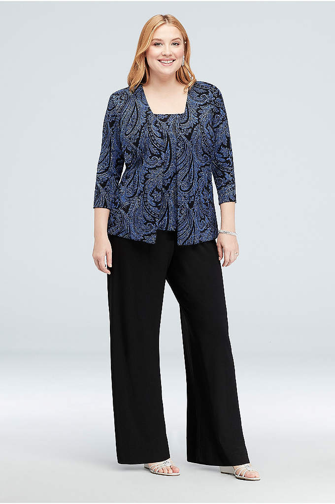 Glitter Paisley Slinky Plus Size Pantsuit - Glittering paisleys swirl and sparkle atop the scoopneck