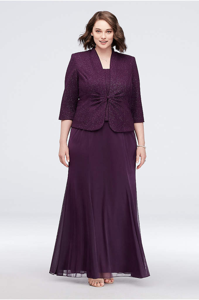 Chiffon and Shimmer Jacquard Plus Size Jacket Gown - This long tank dress ensemble features a shimmery