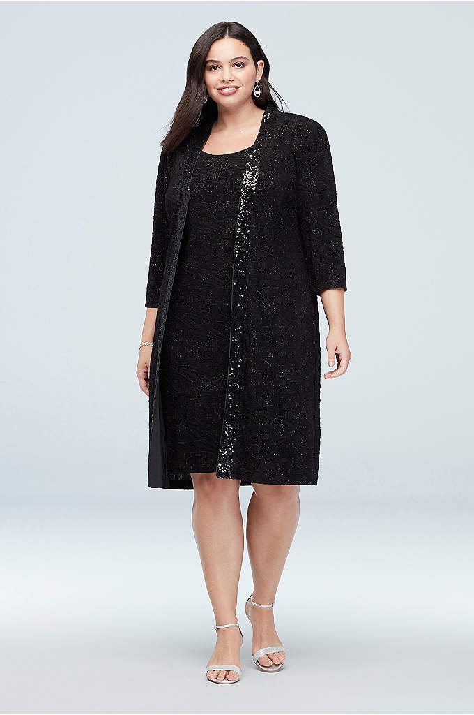 Plus Size Midi Tank Dress and Long Sequin - A long, sequin-trimmed jacket adds an extra bit