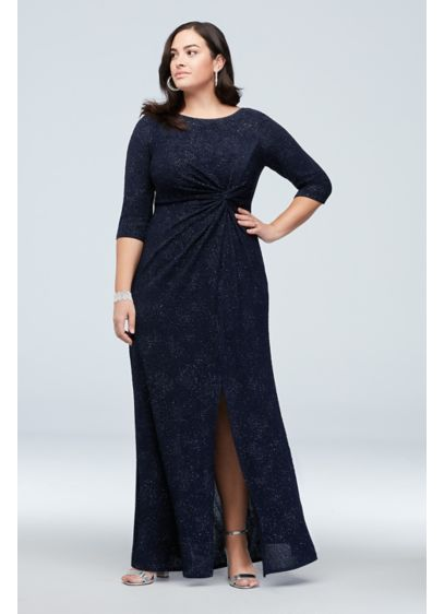 Glitter Jersey Knot-Front Sheath Plus Size Dress - This three-quarter sleeve plus-size dress is crafted of