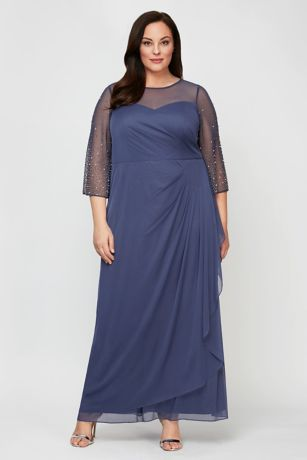 Long Sheath 3/4 Sleeves Dress - Alex Evenings