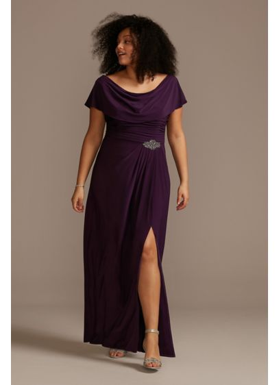Embellished Pleated Cowlneck Plus Size Dress - This matte jersey plus-size dress is a comfortable