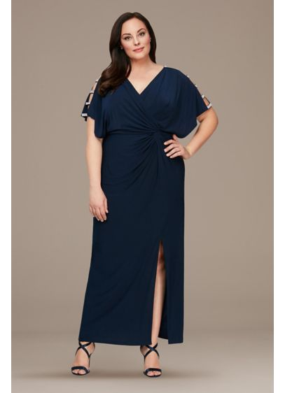 Long A-Line Short Sleeves Mother and Special Guest Dress - Alex Evenings