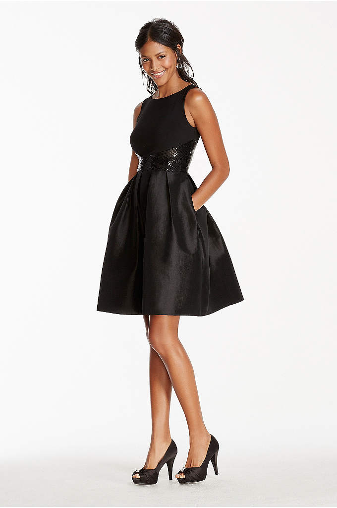 Tank Fit and Flare Taffeta Dress with Sequin Waist