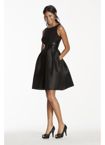 Tank Fit And Flare Taffeta Dress With Sequin Waist David