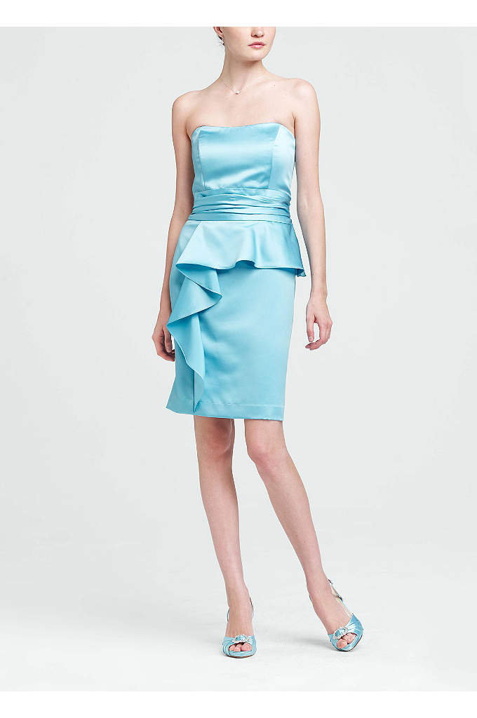 Short Satin Peplum Dress - A trendy take on a classic silhouette, this