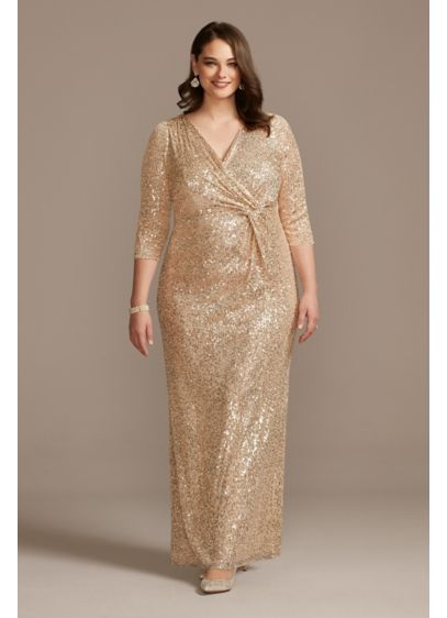 Sequin 3/4 Sleeve Wrap Front Plus Size Dress