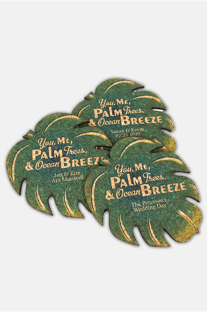Personalized Palm Leaf Cork Coaster - Our Personalized Palm Leaf Cork Coasters add a