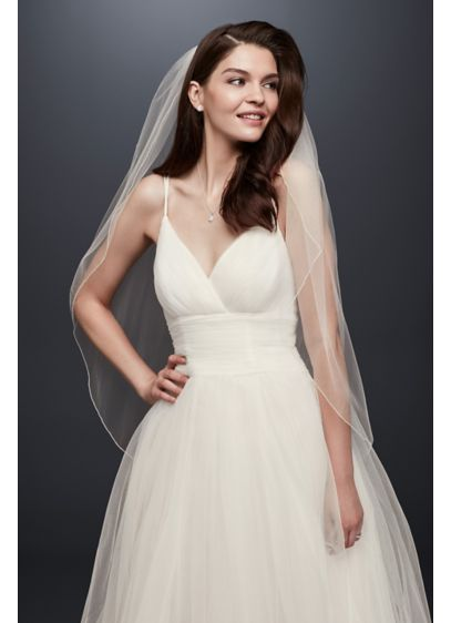 David's Bridal Ivory (One Tier Tulle Fingertip Veil with Pencil Edge)