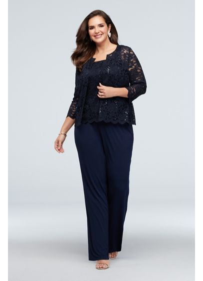 Lace Tank and Jacket Petite Plus Size Pantsuit - This sophisticated and comfortable plus-size event look features