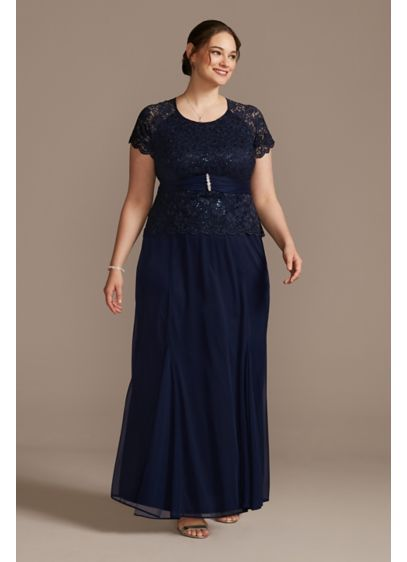 Chiffon Short-Sleeve Lace Plus Size Dress - This flowy chiffon mermaid plus-size dress features a