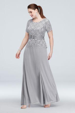 Silver Lace Plus Size Dress