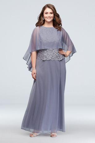 Long A-Line Capelet Dress - Onyx