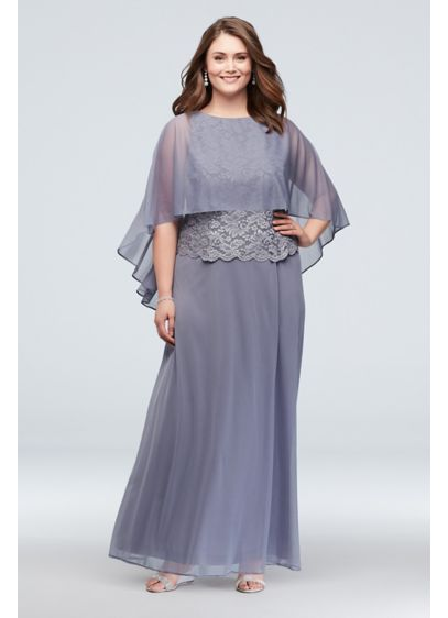 Open-Back Capelet Lace and Mesh Plus Size Dress - Dare to be different in this unique plus-size
