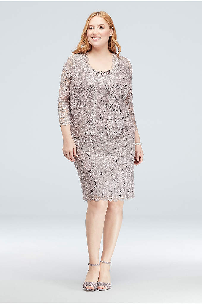 Beaded Neck Sequin Lace Plus Size Dress and - This lovely below-the-knee plus-size tank dress is crafted