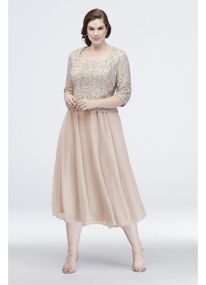 Corded Embroidery Midi Popover Dress with Sequins - Gleaming sequins and corded embroidery add beautiful texture
