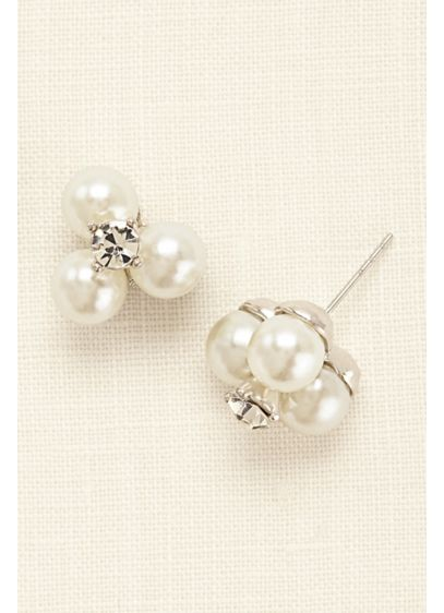 Three Pearl and Crystal Stud Earrings - Wedding Accessories