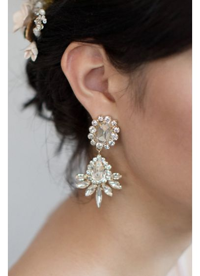 Opal Crystal Navette Burst Earrings - Add some glamour to your bridal or formal