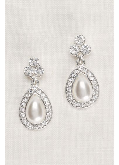 Crystal Trio and Pear Pearl Earrings - Wedding Accessories