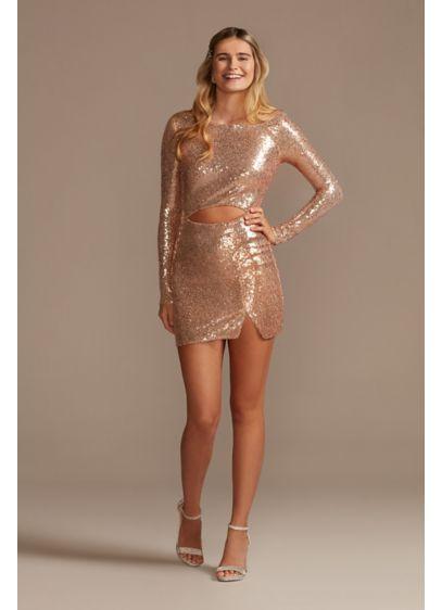 Cutout Waist Sequin Mini Dress - You'll feel like a disco dancing queen in