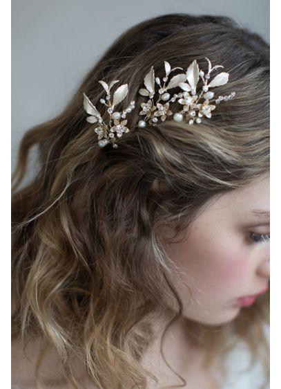 Dainty Blossom and Crystal Hairpin - This flexible hair pin is blossoming with Swarovski