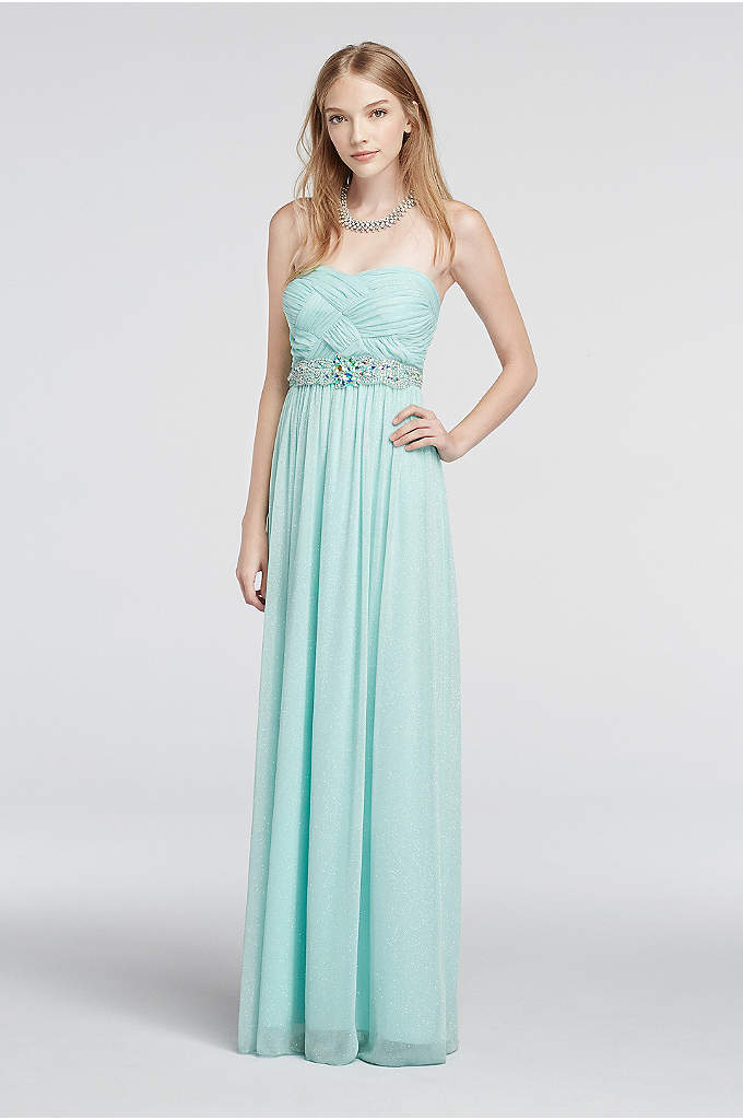 Strapless Glitter Mesh Basket Detail Prom Dress